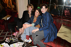 Left to right, CATHERINE WEST, POPPY LLOYD and JASMINE GUINNESS at the Pig Pledge Evening at Club no41, 41 Conduit Street, London on 10th March 2014.