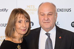 Grosvenor House Hotel, London, November 7th 2016. Luminaries from the music industry gather at the Grosvenor House Hotel for the Music Industry Awards, where this year The Who's Roger Daltrey CBE is honored with the 25th annual MITS award in support of Nordoff Robbins and The BRIT Trust. PICTURED: Harvey Goldsmith and wife
