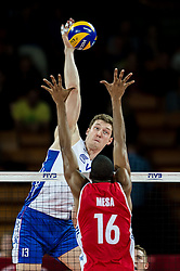 11.09.2014, Centennial Hall, Breslau, POL, FIVB WM, Kuba vs Russland, Gruppe F, im Bild Dmitriy Muserskiy russia #13 Isbel Mesa Sandoval cuba #16 // Dmitriy Muserskiy russia #13 Isbel Mesa Sandoval cuba #16 during the FIVB Volleyball Men's World Championships 2nd Round Pool F Match beween Cuba and Russia at the Centennial Hall in Breslau, Poland on 2014/09/11. EXPA Pictures © 2014, PhotoCredit: EXPA/ Newspix/ Sebastian Borowski<br /> <br /> *****ATTENTION - for AUT, SLO, CRO, SRB, BIH, MAZ, TUR, SUI, SWE only*****