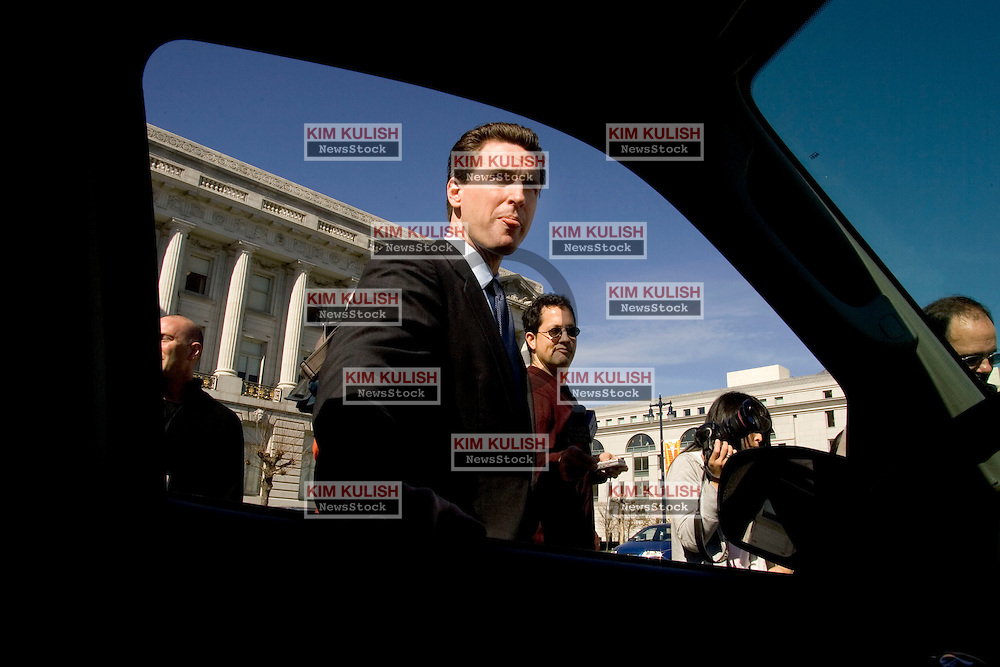 Mayor Gavin Newsom today welcomed ten  2005 Ford Escape Hybrid taxis to his city's Yellow Cab fleet, the first hybrid SUV taxi.fleet in use in the United States. The gasoline-electric hybrid SUVs deliver an EPA-certified 36 mpg in city driving, and 31 mpg in highway use, which will save San Francisco's Yellow Cab Cooperative thousand of dollars over the life of the vehicles. The Escape Hybrid also meets the stringent requirements for AT-PZEV emissions status, making it  the cleanest SUV on the road.  Photo by  Kim Kulish