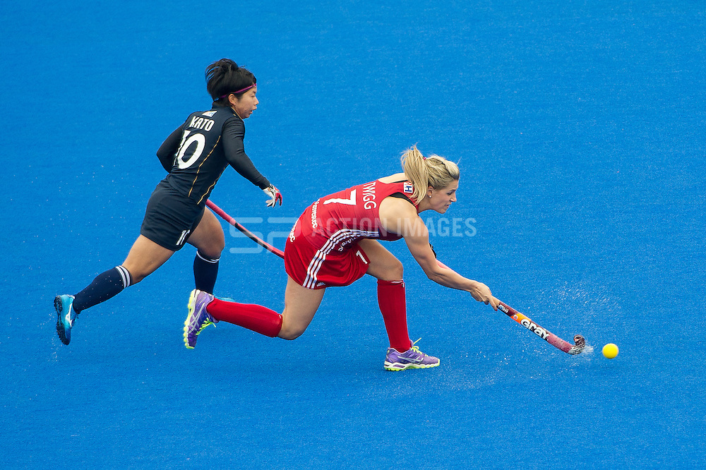 Great Britain's Geogie Twigg. Great Britain v Japan - Investec Private Banking International, Lee Valley Hockey & Tennis Centre, London, UK on 26 April 2015. Photo: Simon Parker