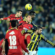 Gaziantepspor's Cenk Tosun (C) during their Turkish superleague soccer match Fenerbahce between Gaziantepspor at the Sukru Saracaoglu stadium in Istanbul Turkey on Monday09 January 2011. Photo by TURKPIX