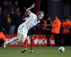 Wolverhampton Wanderers' Kevin McDonald goes down from a challenge by Bournemouth's Andrew Surman - Photo mandatory by-line: Robbie Stephenson/JMP - Mobile: 07966 386802 - 03/03/2015 - SPORT - football - Bournemouth - Dean Court - Bournemouth v Wolverhampton Wanderers - Sky Bet Championship