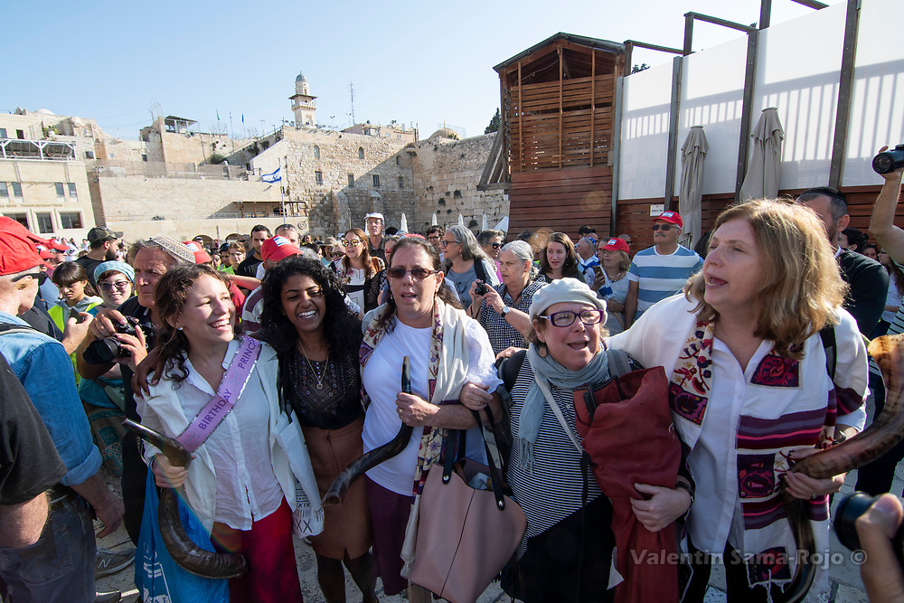 Jerusalem, Israel. 1st September, 2019. The Women of the Wall exiting the Western Wall lead by Linda Avitan (3rd L) and Anat Hoffman (R). © Valentin Sama-Rojo