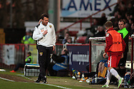 Stevenage manager Darren Sarll in the Sky Bet League 2 match between Stevenage and Bristol Rovers at the Lamex Stadium, Stevenage, England on 19 April 2016. Photo by Nigel Cole.