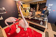The original manuscript watched over by pink flamingos - Alice in Wonderland  - a celebration of the 150th anniversary of the publication of Alice's Adventures in Wonderland. This new exhibition at the British Library explores how Alice has captured readers imaginations for so many years.  Although the story has been adapted, appropriated, re-imagined and re-illustrated since its conception, people are still enchanted by Carroll's original, which continues to inspire new generations of writers and illustrators. Highlights of the show include Lewis Carroll's original manuscript with hand-drawn illustrations, alongside stunning editions by Mervyn Peake, Ralph Steadman, Leonard Weisgard, Arthur Rackham, Salvador Dali and others.