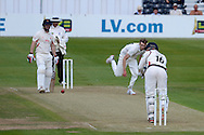 Jordan Clark hits Craig Miles ball for two runs during the LV County Championship Div 2 match between Gloucestershire County Cricket Club and Lancashire County Cricket Club at the Bristol County Ground, Bristol, United Kingdom on 7 June 2015. Photo by Alan Franklin.