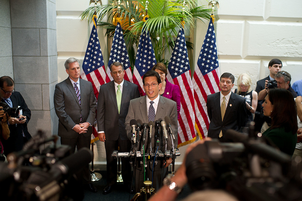House Majority Leader Eric Cantor (R-VA) addresses reporters during a press conference after a caucus meeting on the debt ceiling on Tuesday, July 12, 2011 in Washington.  (Photo by Jay Westcott/Politico)