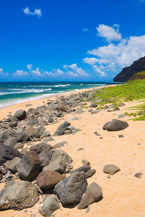Miloli'i Beach on the remote Na Pali Coast, Island of Kauai, Hawaii