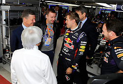10.10.2014, Sochi Autodrom, Sotschi, RUS, FIA, Formel 1, Grosser Preis von Russland, Training, im Bild Dmitry Kozak (RUS) Deputy Prime Minister of the Russian Federation, far left, meets Sebastian Vettel (GER) Red Bull Racing, Bernie Ecclestone (GBR) CEO Formula One Group (FOM) and Christian Horner (GBR) Red Bull Racing Team Principal. // during the Practice of the FIA Formula 1 Russia Grand Prix at the Sochi Autodrom in Sotschi, Russia on 2014/10/10. EXPA Pictures © 2014, PhotoCredit: EXPA/ Sutton Images<br /> <br /> *****ATTENTION - for AUT, SLO, CRO, SRB, BIH, MAZ only*****