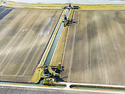 Nederland, Zuid-Holland, Zoetermeer, 20-02-2012; molengang en het water van de Rotte.Polder mills near the river Rotter between the plowed fields. .copyright foto/photo Siebe Swart