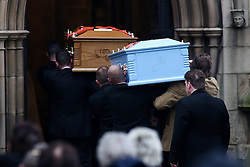 © Licensed to London News Pictures. 06/12/2016. Wakefield, UK. The funeral of Andrew Broadhead and his daughter Kiera takes place at Wakefield Cathedral in West Yorkshire. Andrew Broadhead, 42, died whilst trying to save his 8-year-old daughter Kiera from a house fire. Photo credit : Ian Hinchliffe/LNP