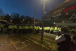 © Licensed to London News Pictures.  23/04/2021. London, UK. Police disperse Arsenal fans who gathered at the Emirates Stadium in North London to protest against the European Super League and general running of the club. Photo credit: Marcin Nowak/LNP