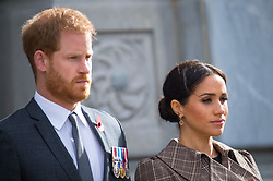 The Duke and Duchess of Sussex during a visit to view the newly unveiled UK war memorial and Pukeahu National War Memorial Park, in Wellington, on day one of the royal couple's tour of New Zealand.