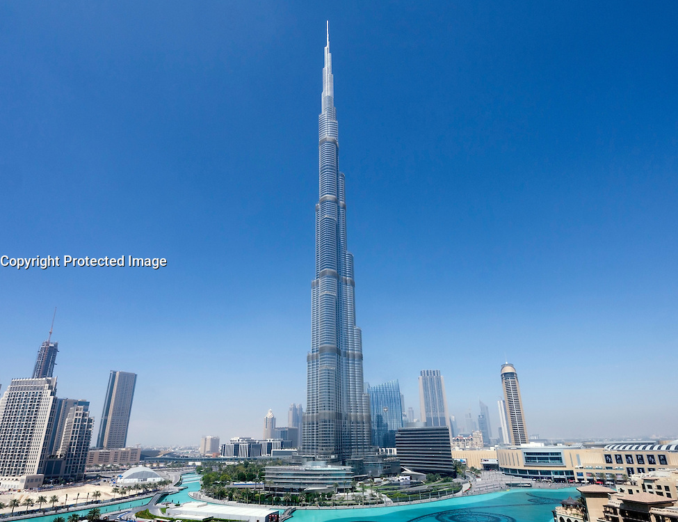 Daytime view of Burj Khalifa Tower world's tallest building in Downtown Dubai UAE