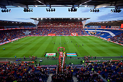 CARDIFF, WALES - Friday, September 6, 2019: Wales and Azerbaijan players walk out onto the pitch before the UEFA Euro 2020 Qualifying Group E match between Wales and Azerbaijan at the Cardiff City Stadium. (Pic by Paul Greenwood/Propaganda)
