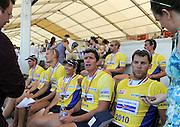 Lucerne, Switzerland.    GBR M+, Men's Eights interviewed after the medal presentation.  2010 FISA World Cup. Lake Rotsee, Lucerne.  14:19:55   Sunday  11/07/2010.  [Mandatory Credit Peter Spurrier/ Intersport Images]