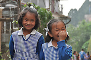 Young girls in uniform on the way to school Darjeeling, West Bengal, India