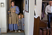 "Aug 10, 2008 -- COLORADO CITY: JOSEPH JESSOP, 86 years old, RIGHT, walks into his home while one of his wives and some of the children that live in the home come out for Sunday dinner. The Jessops are polygamists and members of the FLDS. Colorado City and neighboring town of Hildale, UT, are home to the Fundamentalist Church of Jesus Christ of Latter Day Saints (FLDS) which split from the mainstream Church of Jesus Christ of Latter Day Saints (Mormons) after the Mormons banned plural marriage (polygamy) in 1890 so that Utah could gain statehood into the United States. The FLDS Prophet (leader), Warren Jeffs, has been convicted in Utah of ""rape as an accomplice"" for arranging the marriage of teenage girl to her cousin and is currently on trial for similar, those less serious, charges in Arizona. After Texas child protection authorities raided the Yearning for Zion Ranch, (the FLDS compound in Eldorado, TX) many members of the FLDS community in Colorado City/Hildale fear either Arizona or Utah authorities could raid their homes in the same way. Older members of the community still remember the Short Creek Raid of 1953 when Arizona authorities using National Guard troops, raided the community, arresting the men and placing women and children in ""protective"" custody. After two years in foster care, the women and children returned to their homes. After the raid, the FLDS Church eliminated any connection to the ""Short Creek raid"" by renaming their town Colorado City in Arizona and Hildale in Utah.     Photo by Jack Kurtz / ZUMA Press"