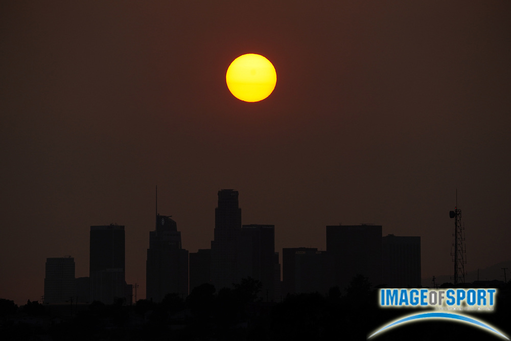Sunset over downtown Los Angeles skyline in skies darkened by California wildfires, Wednesday, Sept 16, 2020.