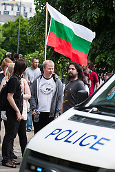 The English Defence League (EDL) return to Sheffield to lay flowers at Sheffield War Memorial Anti EDL Protestors move through Devonshire Green heading after the EDL<br /> <br /> 8 June 2013<br /> Image © Paul David Drabble<br /> www.pauldaviddrabble.co.uk