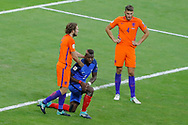 Paul POGBA (FRA) missed to score a goal against Jasper CILLESSEN, Daley BLIND (NED), Wesley HOEDT (NED) during the FIFA World Cup Russia 2018, Qualifying Group A football match between France and Netherlands on August 31, 2017 at Stade de France in Saint-Denis, France - Photo Stephane Allaman / ProSportsImages / DPPI