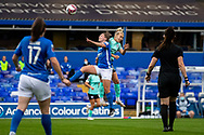 Brighton & Hove Albion midfielder Emily Simpkins (19) heads the ball during the FA Women's Super League match between Birmingham City Women and Brighton and Hove Albion Women at St Andrews, Birmingham United Kingdom on 12 September 2021.