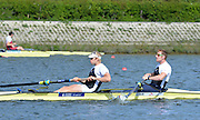 Reading. United Kingdom.  GBR M2-.  Bow. George NASH and Andy TWIGGS HODGE in the opening strokes of the morning time trial. 2014 Senior GB Rowing Trails, Redgrave and Pinsent Rowing Lake. Caversham.<br /> <br /> 11:05:34  Saturday  19/04/2014<br /> <br />  [Mandatory Credit: Peter Spurrier/Intersport<br /> Images]