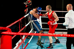 Igor Nistor of Serbia (BLUE) fights against Denis Lazar of Slovenia (RED) in Elite 81 kg Category during Dejan Zavec Boxing Gala event in Laško, on April 21, 2017 in Thermana Lasko, Slovenia. Photo by Vid Ponikvar / Sportida