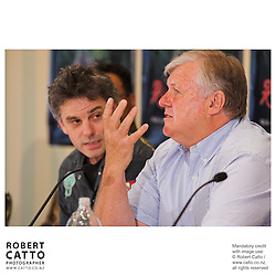 Director Vincent Ward and producer Don Reynolds answer questions at the press conference before the premiere of the film River Queen in Wanganui, New Zealand.<br />