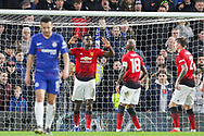 GOAL - Manchester United Midfielder Paul Pogba celebrates 0-2 during the The FA Cup 5th round match between Chelsea and Manchester United at Stamford Bridge, London, England on 18 February 2019.