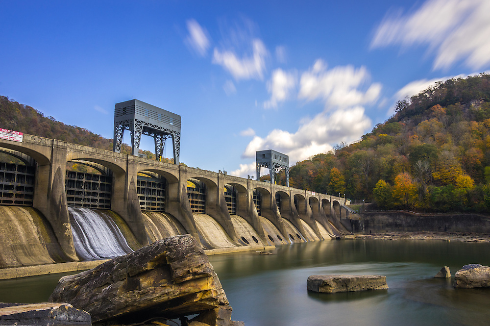A long exposure of the Hawks Nest Dam on the New River of West Virginia in autumn.