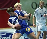 handball, eliteserien herrer, 28. september 2001. Drammen håndballklubb-Stord 27-25. , Geir Erlandsen, Drammen Dhk, og Didrik Launes, Stord.