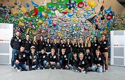 Team photo at press conference of Slovenian National Climbing team before new season, on March 23, 2021 in Bolder Scena, Ljubljana, Slovenia. Photo by Vid Ponikvar / Sportida