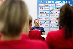 Coach Tone Tiselj during press conference of handball club RK Krim Mercator  before new season 2012/13, on August 21, 2012 in Arena Stozice, Ljubljana, Slovenia. (Photo by Vid Ponikvar / Sportida.com)