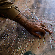 SHAILA, IRAQ - OCTOBER 20: Colonel Nawroz Majid, head of the Asaish (the Kurdish intelligence) of Shaila, shows the main points of where refugees fleeing the Turkish incursion into Rojava would be smuggled at the Shaila Asaish base on October 20, 2019 in Shaila, Iraq. (Photo by Byron Smith/Getty Images)
