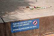 Rwanda February 2014. Kigali Genocide Memorial. Mass grave with sign warning visitors not to step or sit on the graves and two red roses.250,000 people are buried here, victims of 1994 genocide when an estimated 800,000 to one million people were savagely killed in 100 days ,starting on April 7th when the President's plane was shot down.