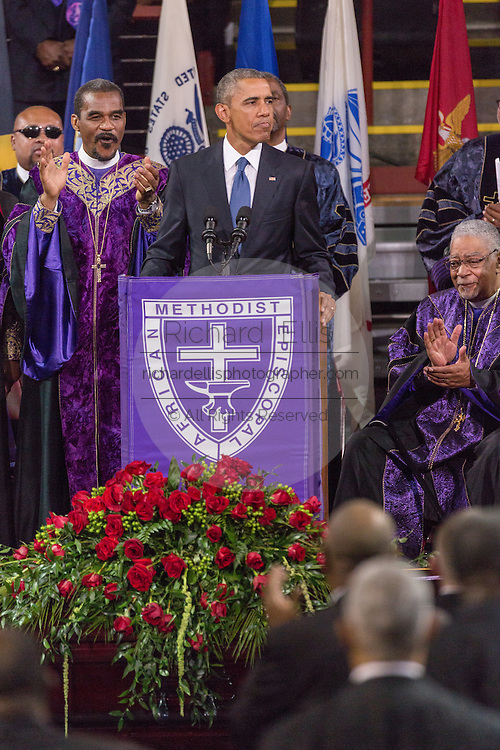 U.S. President Barack Obama delivers the eulogy at the funeral of slain State Senator Clementa Pinckney at the TD Arena June 24, 2015 in Charleston, South Carolina. Pinckney is one of the nine people killed in last weeks Charleston church massacre.
