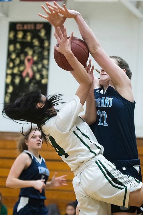 MMU's Allison Fullem (22) blocks the shot by Winooski's Ruby Ly (4) during the girls basketball game between the Mount Mansfield Cougars and the Winooski Spartans at Winooski High School on Friday night February 14, 2020 in Winooski, Vermont.(BRIAN JENKINS/for the FREE PRESS)