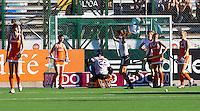 ROSARIO - Vreugde bij Duitsland als het op een 1-0 voorsprong komt, zondag  tijdens de poulewedstrijd bij de World Cup 2010 vrouwen hockey tussen Nederland en Duitsland in het Argentijnse Rosario.