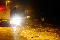 FE1KDE Southampton, Hampshire, UK. 4th February, 2016. A spillage of milk bottles led to the closure of a section of one of the major routes into Southampton city centre earlier.  Hampshire fire service said about 1,000 litres of milk came off the lorry on the A3024 at Bursledon.  The service said it had sent its Hazard Area Response Team to the scene to prevent the milk from getting into nearby water courses.  The road has since reopened between the Windhover Roundabout and the B3033.  The driver of the 44-tonne lorry is not believed to be injured. © uknip/Alamy Live News