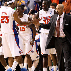 Mar 19, 2011; Tampa, FL, USA; Florida Gators players Florida Gators forward Alex Tyus (23) center Vernon Macklin (32) and forward Will Yeguete (15) celebrate following a win over the UCLA Bruins in the third round of the 2011 NCAA men's basketball tournament at the St. Pete Times Forum. Florida defeated UCLA 73-65.  Mandatory Credit: Derick E. Hingle
