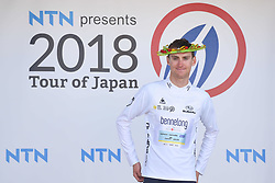 May 24, 2018 - Lida, Nagano, Japan - Australian rider Sam Crome from Bennelong Swisswellness Cycling Team takes the Young Rider White Jersey after Minami Shinshu stage, 123.6km on Shimohisakata Circuit race, the fifth stage of Tour of Japan 2018. .On Thursday, May 24, 2018, in Lida, Nagano Prefecture, Japan. (Credit Image: © Artur Widak/NurPhoto via ZUMA Press)