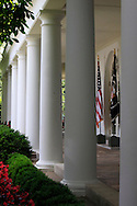 the colonade of the White House.  Photograph by Dennis Brack