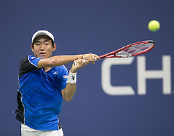 August 28, 2018 - Flushing Meadows, New York, U.S - Yoshihito Nishioka during his match against Roger Federer on Day 2 of the 2018 US Open at USTA Billie Jean King National Tennis Center on Tuesday August 28, 2018 in the Flushing neighborhood of the Queens borough of New York City. Federer defeats Nishioka, 6-2, 6-2, 6-4. (Credit Image: © Prensa Internacional via ZUMA Wire)