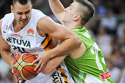Donatas MOTIEJUNAS of Lithuania vs Alen Omic of Slovenia during friendly match between National Teams of Slovenia and Lithuania before World Championship Spain 2014 on August 18, 2014 in Kaunas, Lithuania. Photo by Robertas Dackus / Sportida.com