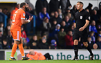 Blackpool's Liam Feeney pleads his innocence with Referee Stephen Martin after he was judged to have fouled Ipswich Town's Jon Nolan<br /> <br /> Photographer Chris Vaughan/CameraSport<br /> <br /> The EFL Sky Bet League One - Ipswich Town v Blackpool - Saturday 23rd November 2019 - Portman Road - Ipswich<br /> <br /> World Copyright © 2019 CameraSport. All rights reserved. 43 Linden Ave. Countesthorpe. Leicester. England. LE8 5PG - Tel: +44 (0) 116 277 4147 - admin@camerasport.com - www.camerasport.com