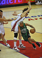 Ray Allen drives around Anderson Varejao..The Cleveland Cavaliers defeated the Boston Celtics 88-77 in Game 4 of the Eastern Conference Semi-Finals at Quicken Loans Arena in Cleveland.