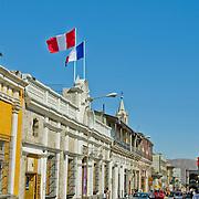 "Colorful architecture in the ""White City"" of Arequipa, Peru."