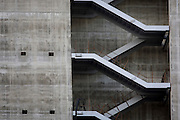 Concrete wall and bare emergency exit stairwell of City of London new development